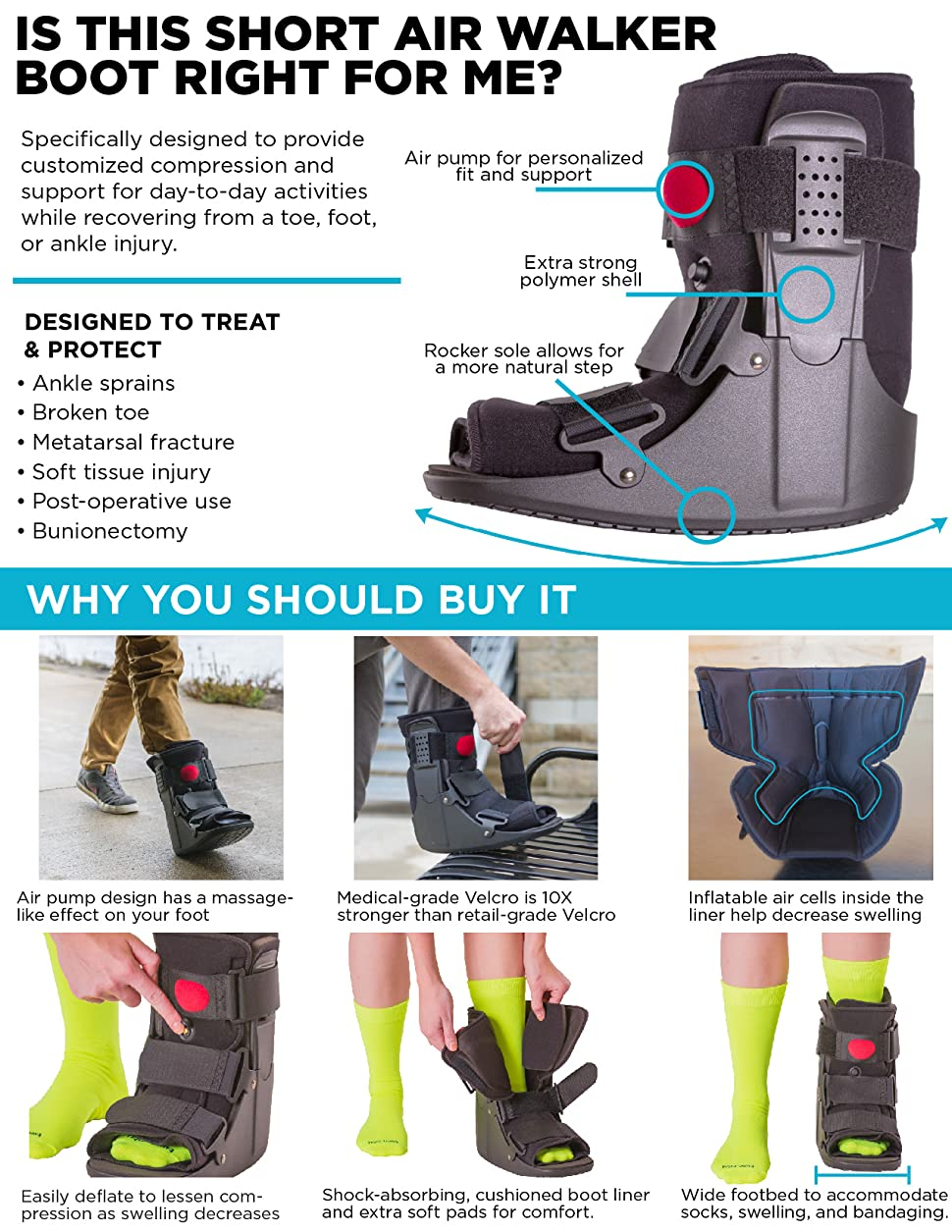 Amazon Com Braceability Short Air Ankle Walker Boot