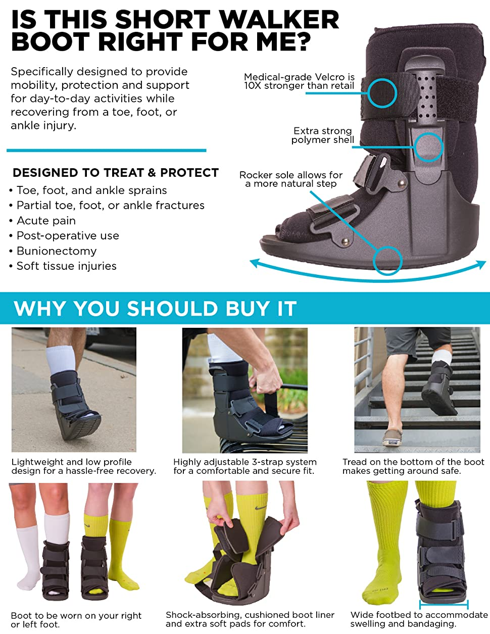 BraceAbility Short Broken Toe Boot | Walker for Fracture Recovery,  Protection and Healing After Foot