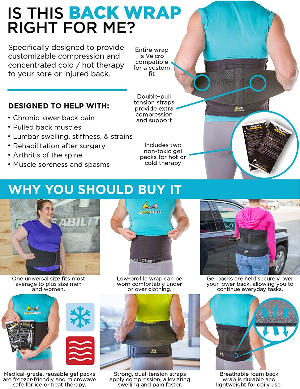 06d4198c60540 This back brace with therapy gel packs makes it easier to apply cold or  heat therapy and compression to the low-back