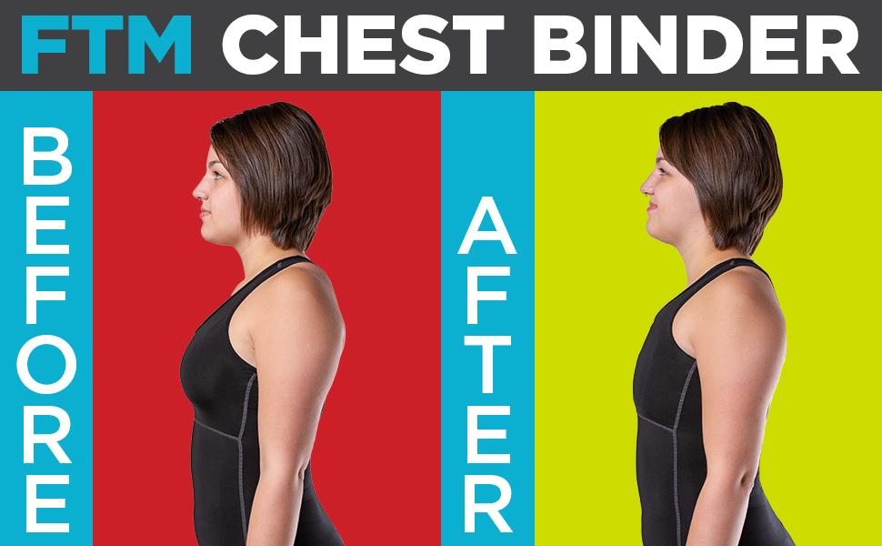 BraceAbility FTM Chest Binder   Transgender Elastic Compression Bandage  Wrap for Large Breasts, Women's Short Corset Band