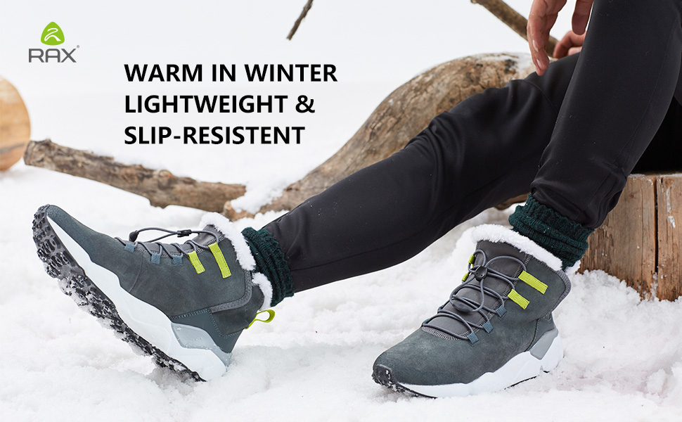RAX Mens Outdoor Anti-Slip Waterproof Snow Boot with Fur Lined Winter Warm Shoes