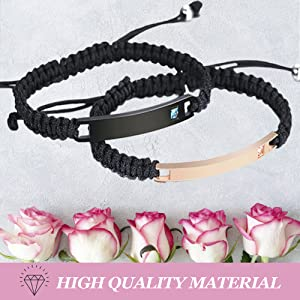 Bracelets Handmade Braided Rope Custom Engraved Women Men Steel Wrist Bangle Couple Friends Gift