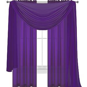 3 piece dark purple sheer voile curtain panel set world products mart