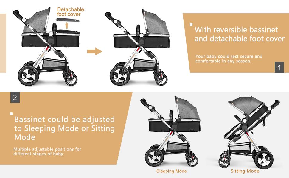 Amazon.com: Besrey - Cochecito de bebé plegable convertible ...