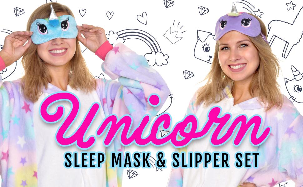 148003a374a Angelina Women s Unicorn Plush Sherpa Slipper and Fuzzy Sleep Mask ...