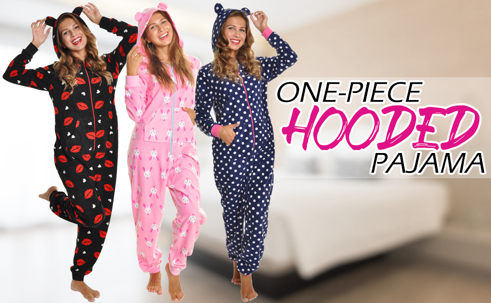 a2ea55d012 Angelina Women s   Kid s Fleece Novelty One-Piece Hooded Pajamas