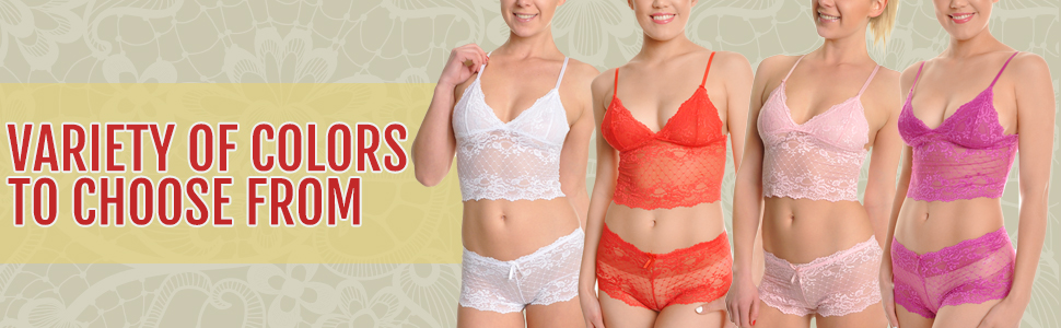 375a7faa43e1e Angelina Women s Two-Peice Lace Cami Bralette Top and Boxer Shorts ...