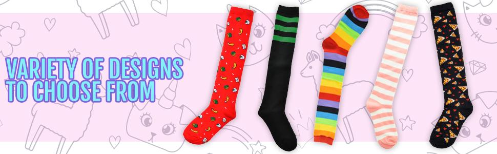 3d9200e38 Amazon.com  Angelina Novelty Assorted KNEE HIGH Socks  Clothing