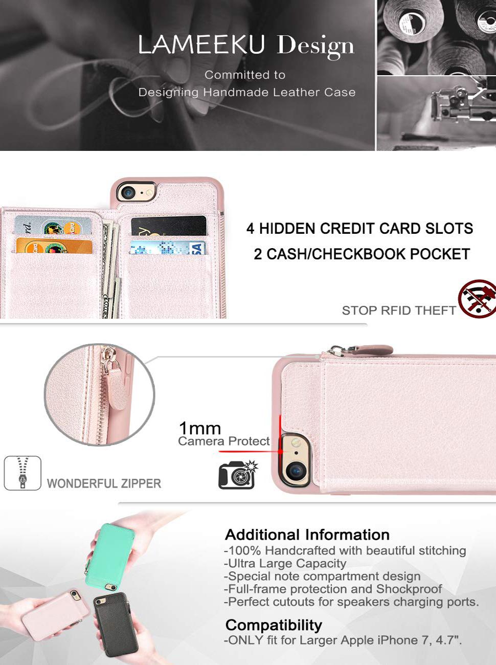 Amazon.com: iPhone 6/6S 7 Plus Wallet Caso – Prueba de ...