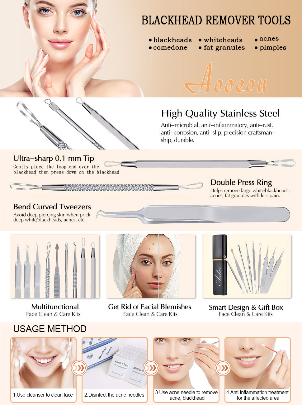 Blackhead Remover Acne Tool 9PCS Kit, Aooeou Professional Stainless Steel  Curved Pimple