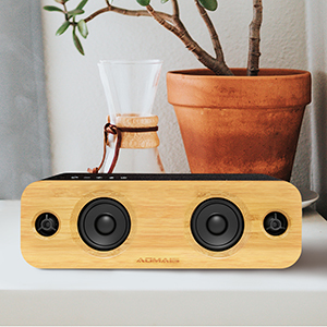 1  AOMAIS Life Bluetooth Speakers, 30W Loud Home Party Wireless Speaker, 2 Woofer & 2 Tweeters for Super Bass Stereo Sound, 100 Ft Bluetooth V5.0 and 12-Hour Playtime Subwoofer – Imitation Bamboo Panel 7143a11a 0222 41e8 a4c4 431fe9e0c499