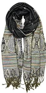 black green boho ethnic pashminas