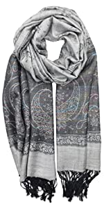 Two Toned Lurex Paisley Pashmina Shawl