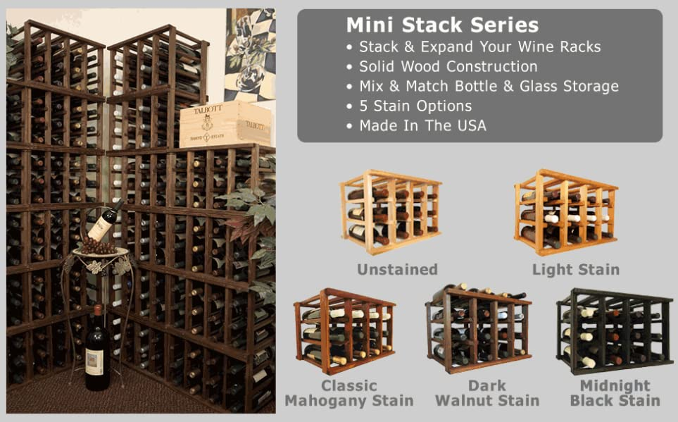 Amazon.com: Wooden Wine Rack - 12 Bottle Wine Rack - No Assembly ...