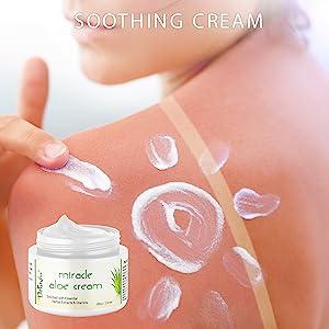Aloe vera cream, sun burn relief, rose hip oil, vitamin e, moisturizer, organic, eczema, psoriasis