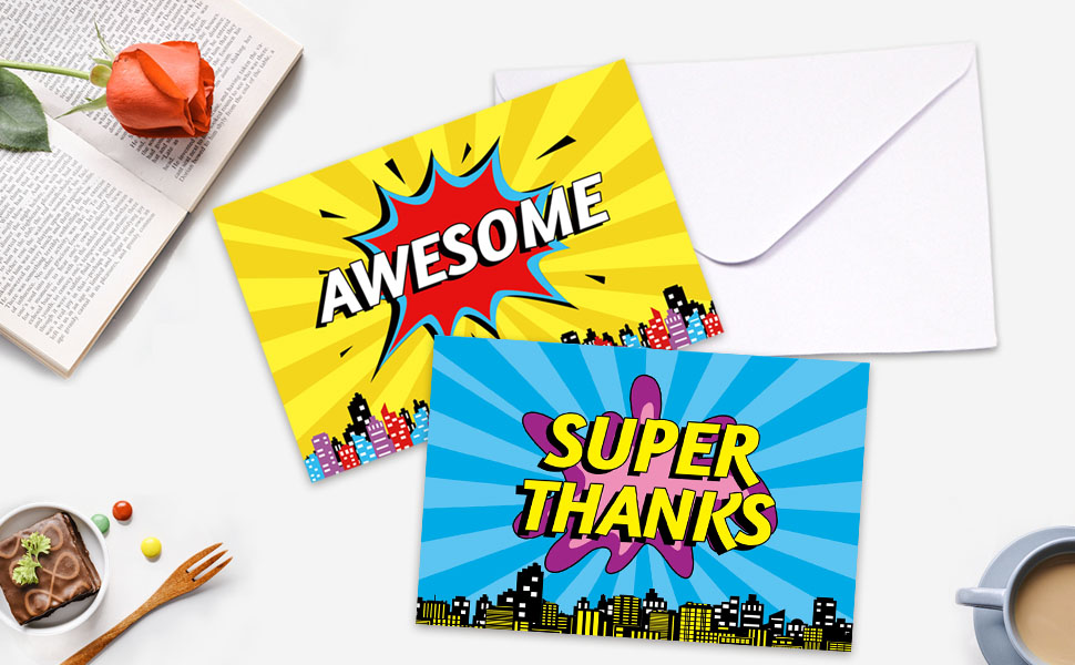 359a6aea7c559 Superhero Thank You Cards 36 Thank You Notes With Envelopes For Wedding  Business Gift Cards Graduation