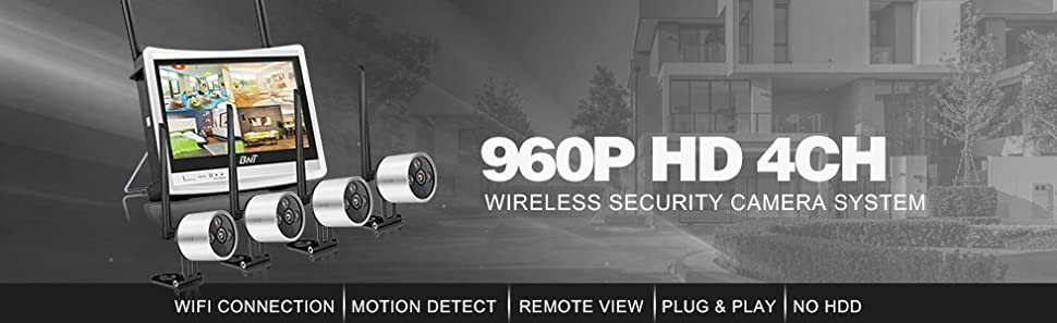 74e0a1983a0 Wireless Security Camera System BNT 4Channel WIFI NVR with HD LCD Monitor    4 HD 960P Home Surveillance Waterproof WIFI CCTV IP Cameras with Night  Vision ...
