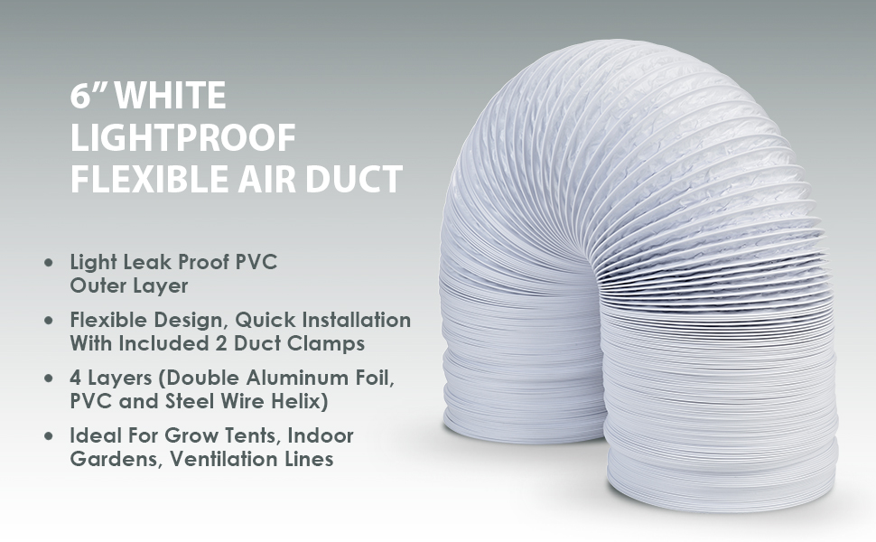 """6"""" Air Ducting - 25 FT Long White Flexible Ducting Hose with 2 Clamps For Air Transfer"""