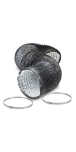 4 Inch Black Flexible Ducting - 8 Ft Long Duct With 2 Clamps Included