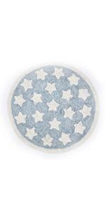 blue round rug