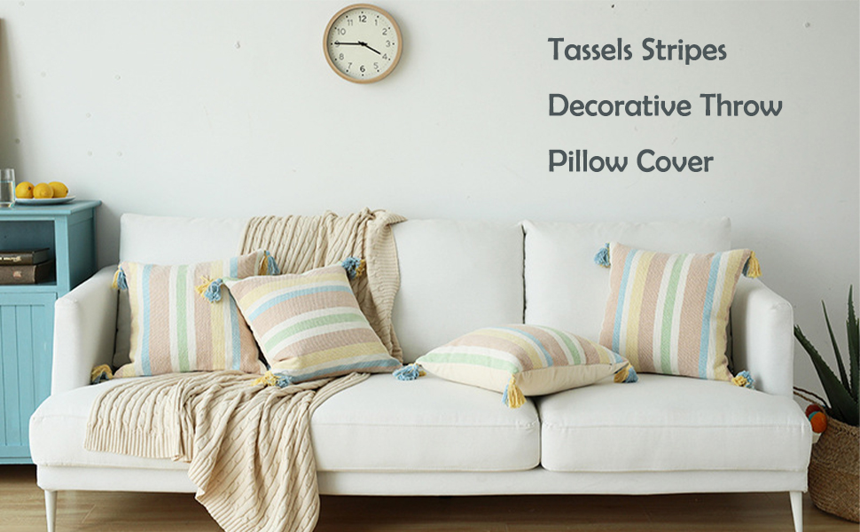 tassels throw pillow cover stripes pillow case bedroom living room sofa couch