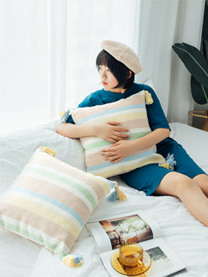 "decorative farmhouse pillow cushion 18"" car office yellow blue khaki beige square pillows"