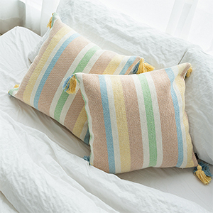 stripes throw pillow cover tassles pillow case colorful fringe cotton woven