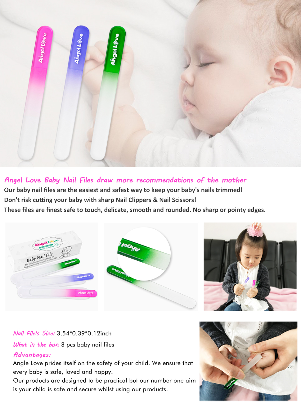 Amazon.com : Baby Nail File, 3 Pack, Emery Board glass, Crystal, Set ...