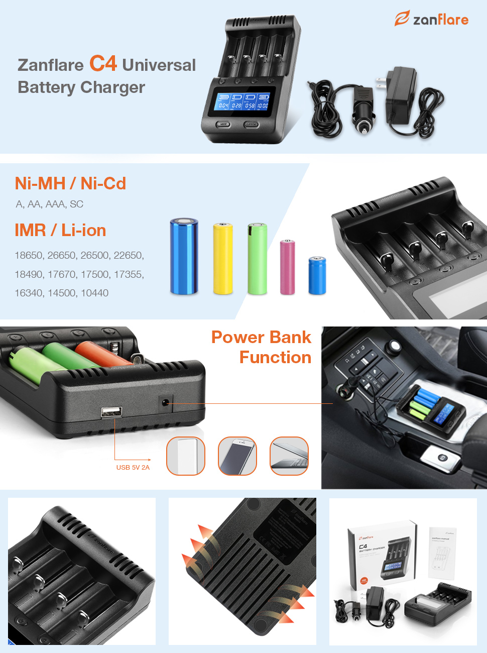 Amazon Com Lcd Display Speedy Universal Battery Charger With Car Adapter Zanflare C4 Smart Charger For Rechargeable Batteries Ni Mh Ni Cd A Aa Aaa Sc Li Ion 18650 26650 26500 22650 18490 17670 17500 17355 Electronics