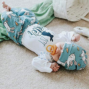 71e061a21 My 1st Easter Newborn Baby Boy Girl Clothes Long Sleeve Romper Top + Bunny  Pants
