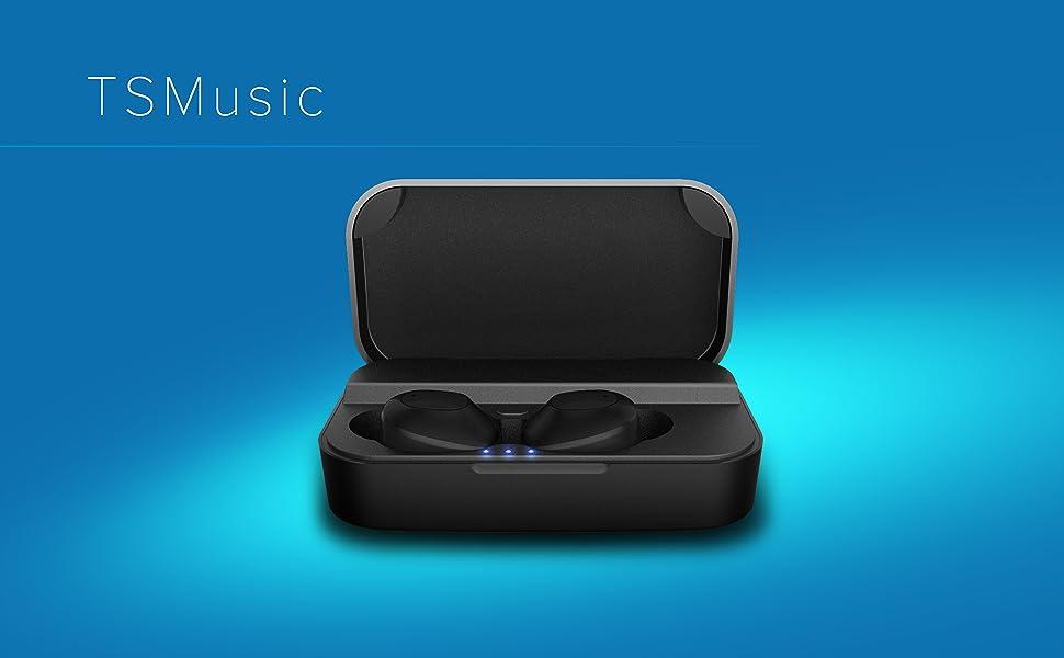True wireless stereo bluetooth headphones ipx5 charging case 2600 mah