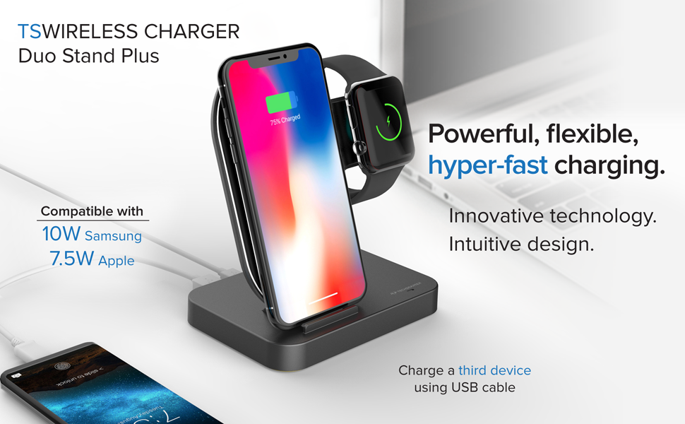 Techsmarter Wireless Charging Station Dock for iPhone + Apple Watch + USB-A Port | Wireless Charger Compatible with Apple iWatch 5,4,3, 2, 1 iPhone ...