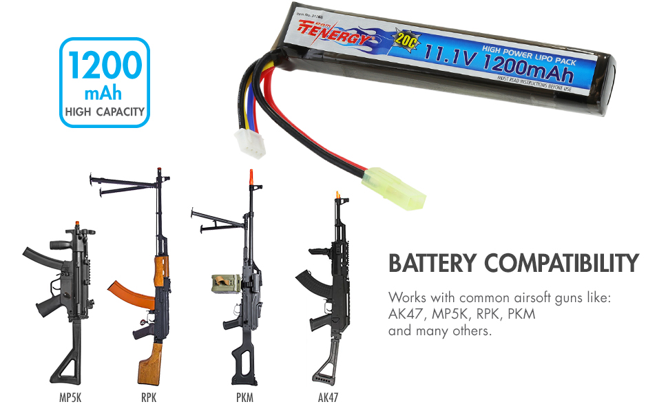 LiPo Battery Pack 20C Replacement Hobby Battery for AEG with Mini Tamiya Connector Tenergy 11.1V 1200mAh Airsoft Battery Pack and Balance Charger