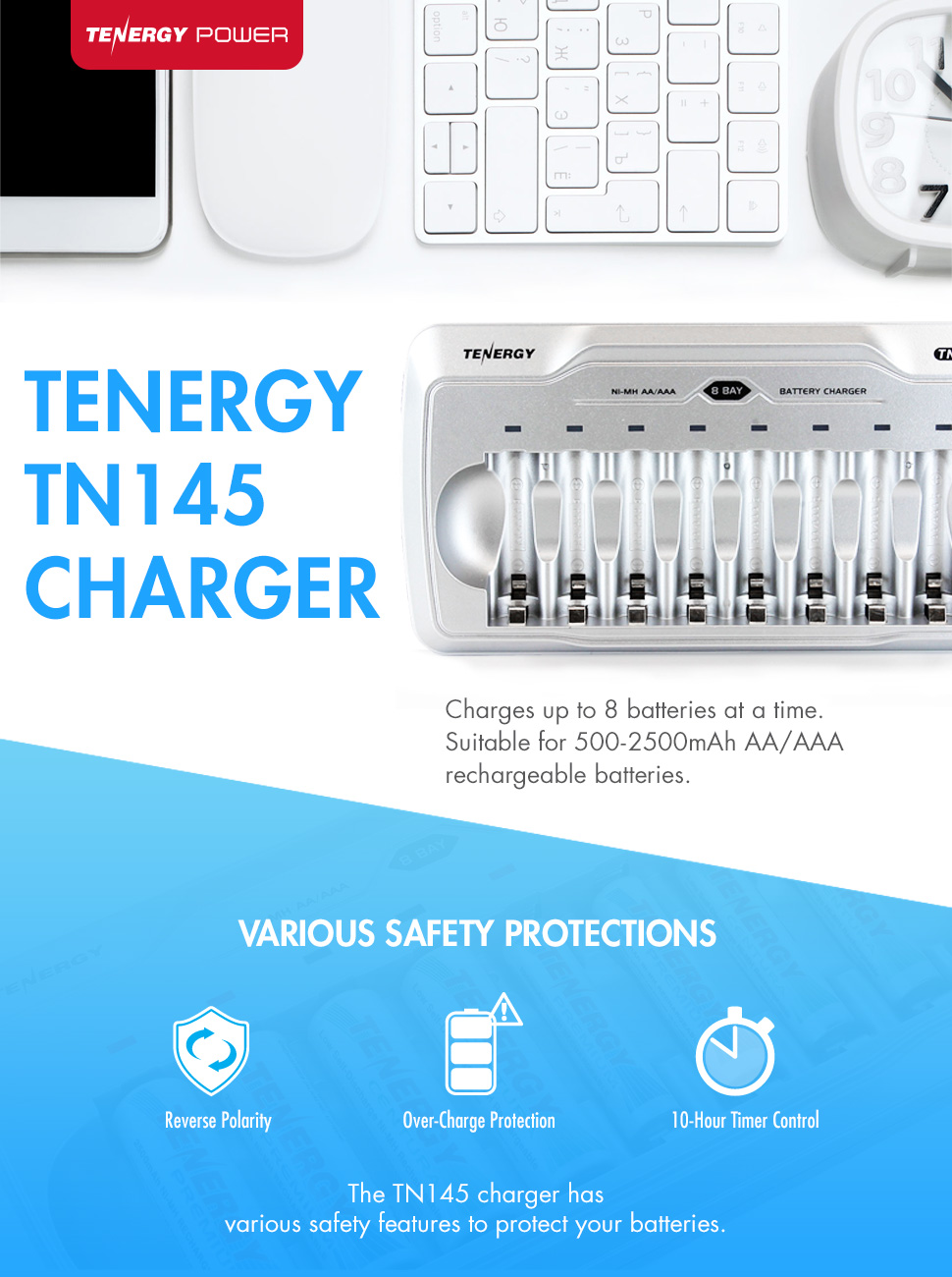 Tenergy Tn145 Aa Aaa Battery Charger 8 Slot Household Simplechargercircuitchargesupto12nicdcellsjpg Product Description