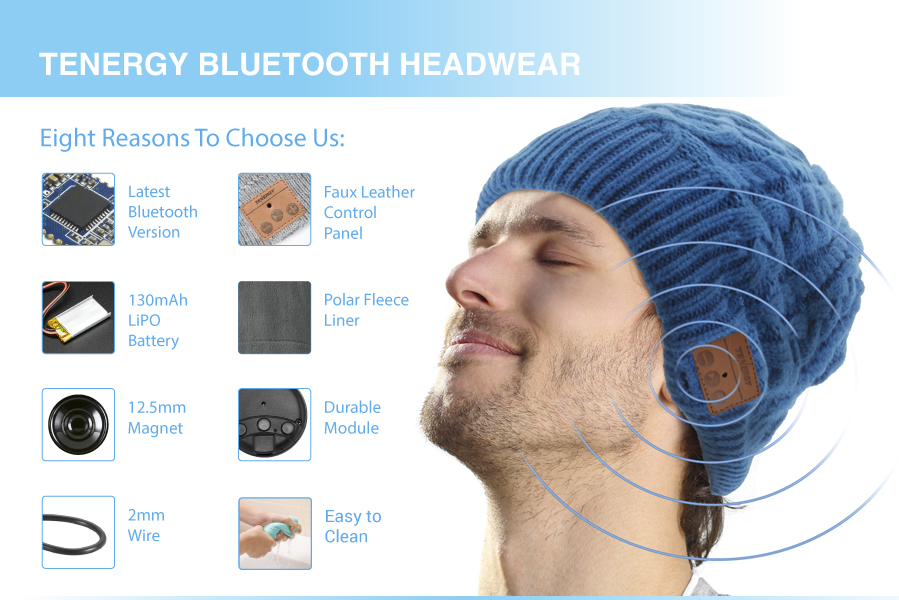 Tenergy Bluetooth Beanie will keep you warm while you listen to music or  take phone calls wirelessly. Backwards compatible 5b1512946fdb