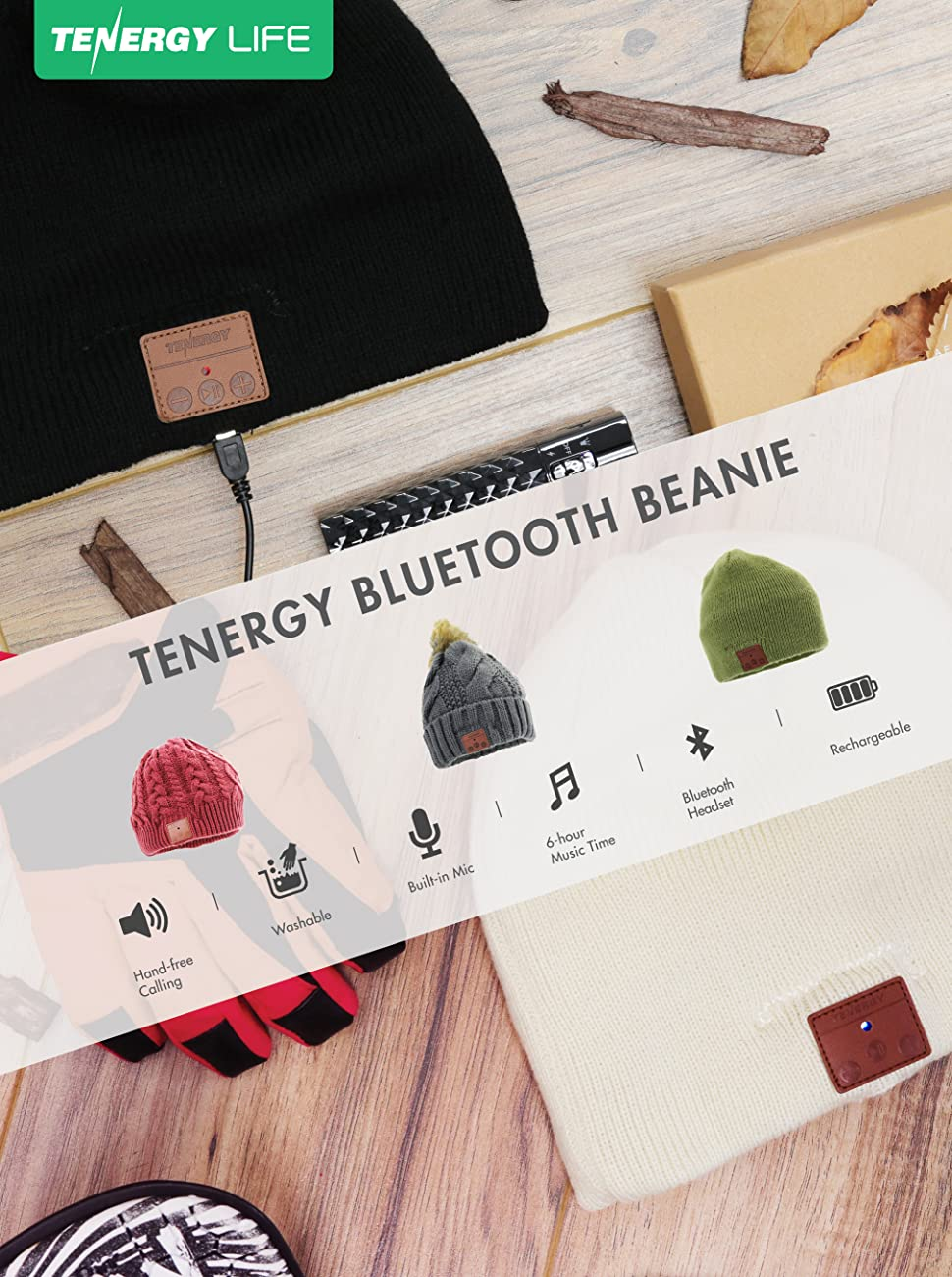 fef3146dd Tenergy Wireless Bluetooth Beanie Hat with Detachable Stereo Speakers &  Microphone, Fleece-Lined Unisex Music Beanie for Outdoor Sports, Basic Knit  ...