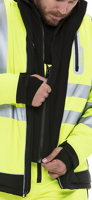 refrigiwear 0796R Hivis Extreme Softshell Jacket dual front zipper system