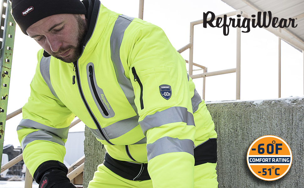 working outside in the cold wearing refrigiwear 0796R High Visibility Extreme Softshell Jacket