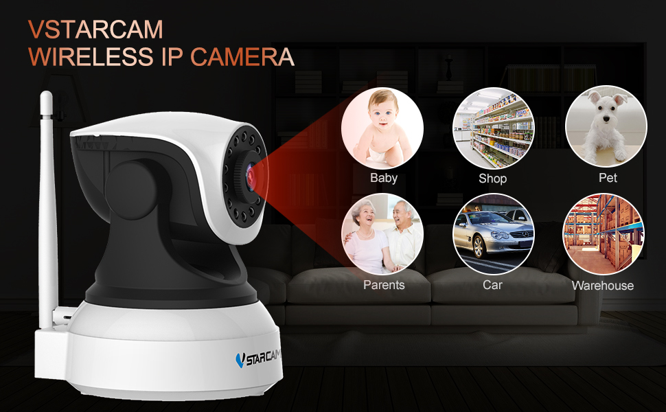 WiFi Camera,VStarcam Wireless IP Camera with Night Vision for Indoor, 2 Way  Audio and Multi-Users