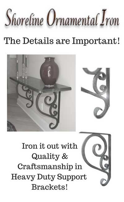 """Black Matte Shoreline Decorative 11/""""DX19/""""L Heavy Duty Wrought Iron Scroll Angle Support Bracket for Granite /& Other Interior//Exterior Use"""