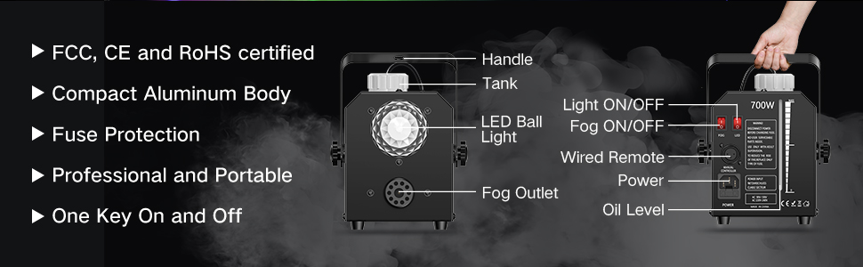fog machine with led stage lights