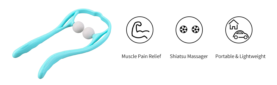 Portable and lightweight customized shiatsu massager provides pain relief for tight achy muscles.