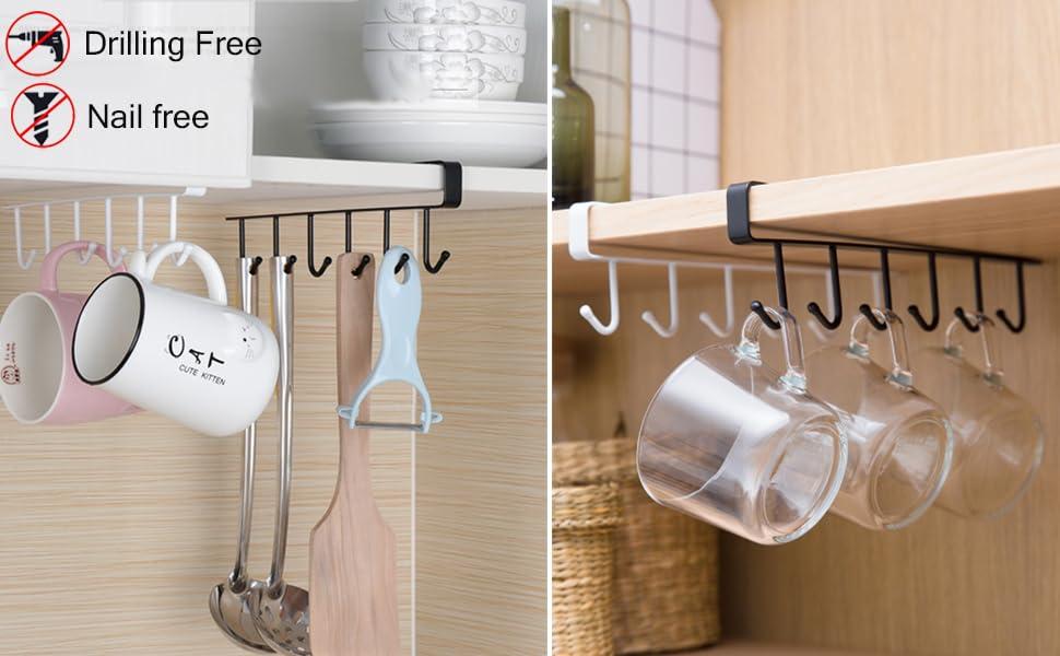 6 ganchos para taza de caf/é cafeter/ía Soporte para taza de inserci/ón de gabinete Gancho para taza de caf/é Colgador de almacenamiento de taza resistente y duradero gabinetes de cocina decoraci/ón
