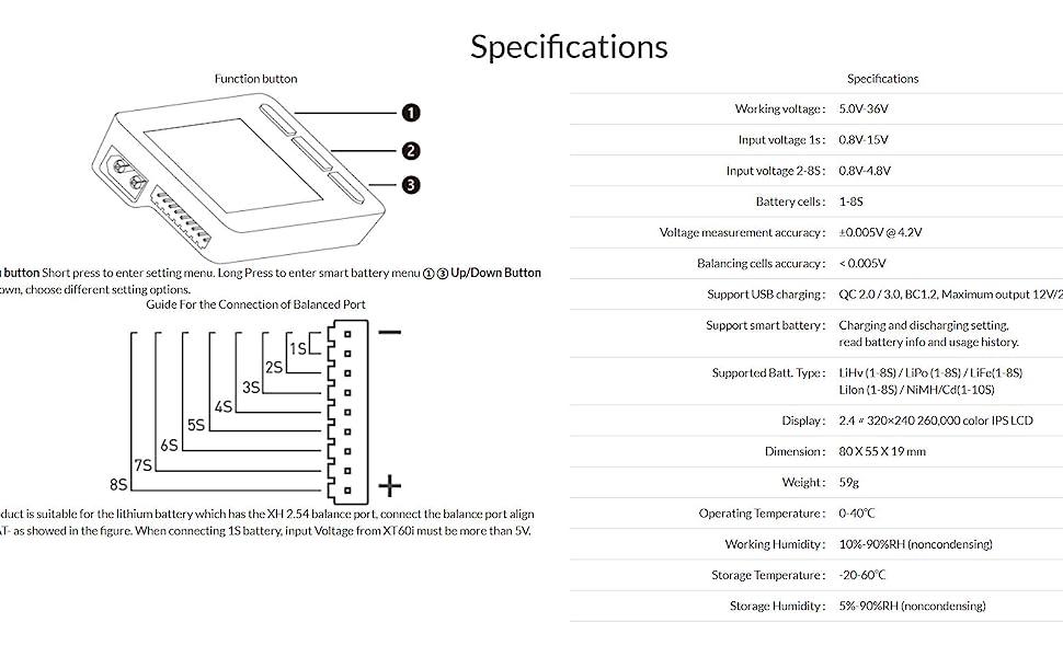 ISDT BG 8S 3 Pin Plug LCD Display Multilanguage Smart Battery Checker Digital