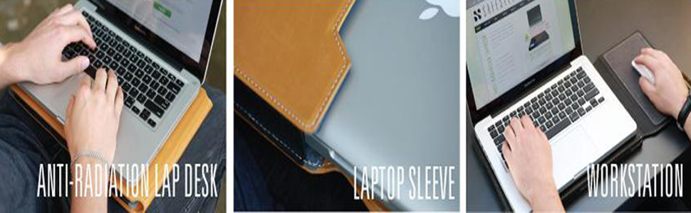 SafeSleeve T-15 Laptop Radiation and Heat Shielding Lap Desk with Mouse Pad and Case Tan EMF