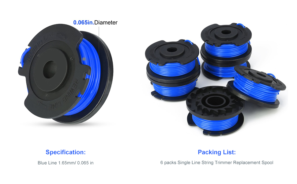 YWTESCH Single Line String Trimmer Replacement Spool 0.065-Inch for Greenworks String Trimmer 4 Packs