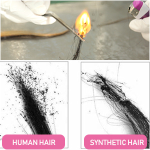 How to tell human hair and synthetic hair?