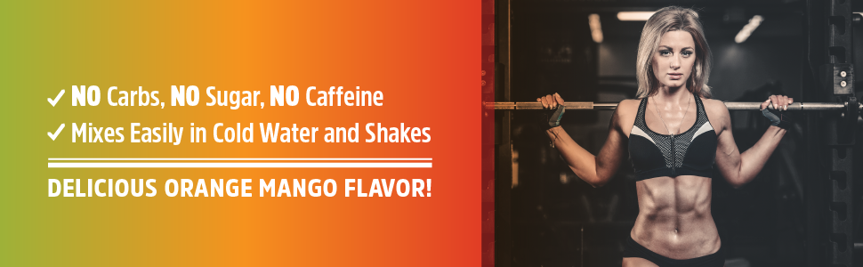 no carb no sugar caffeine free orange mango flavor
