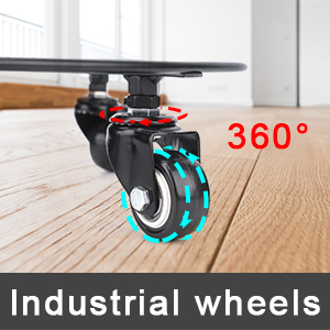 The wheels don't get stuck or locked up as you move, Wheels rotate freely even over carpeting 360°