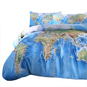 Amazon sleepwish world map bedding duvet cover set for kids a vivid printed world map for you to show off the places youve visited gumiabroncs Choice Image